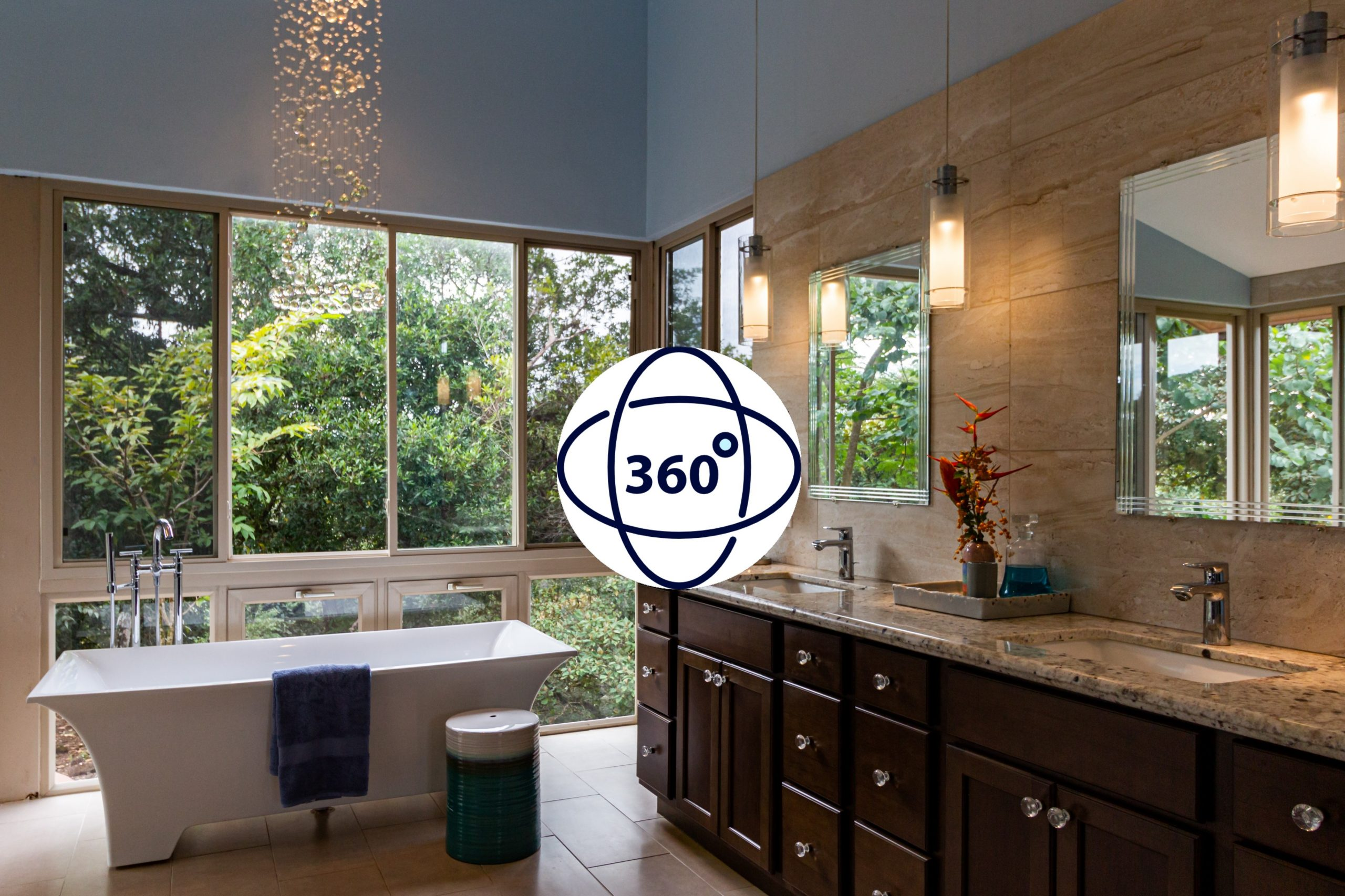 Baño de una casa con símbolo de recorrido virtual
